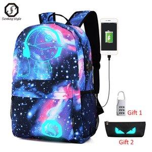 Senkey Luminous USB homens Backpack Anime Boy School Girl do portátil do saco saco de mulher Backpack Carregamento com Anti-roubo saco de viagem Bloqueio 201118