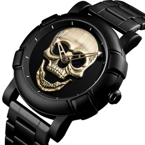 Cool Man Steampunk Skull Head Watch Men 3D Skeleton Engraved Gold Black Mexico Punk Rock Dial Clock Watches relogio masculino 201204