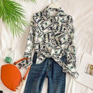 new fashion women's blouse shirt Retro dollar pattern stand collar long sleeve loose lazy shirt top 201202