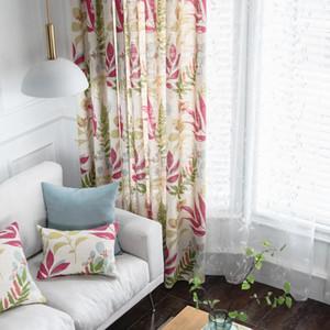 Rideaux semi-blackout rzcortinas pour la chambre à coucher coton lin rideau rideau salon rideaux américains avec des feuilles imprimées stores