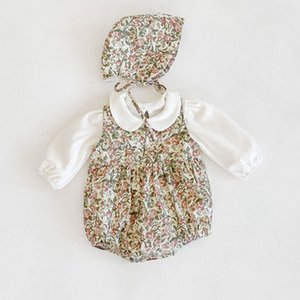 3PCS Newborn Baby Girl Clothes Set White Cotton Solid Long Sleeve T-shirt+Floral Sleeveless Bodysuit+Hat Infant Clothing Outfits C1118