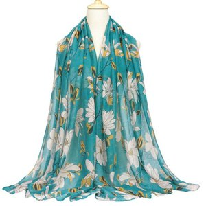 Printed Scarf Womens Bali Yarn Cotton Linen Voile Warm Large Size Flower Printing Autumn Winter Shawl Trendy Lady Fashion