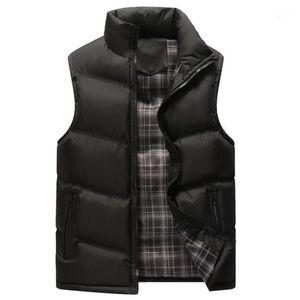 Мужские жилеты жилет Мужчины без рукавов куртка сгущают хлопок теплый гиленок мужской стойку воротник повседневная ветровка осень зима жилет 4xl1