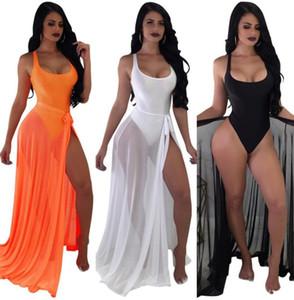 Sexy Women Bikini Swimwear 2019 Mesh Scoop Neck One-piece Bathing Suits And Bandage Sheer Long Maxi Skirt Set Beach wimwear Cover Up 788