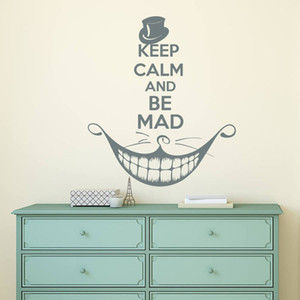 Alice in Wonderland Wall Decal Keep Calm and Be Mad Quote Vinyl Sticker Cat Smile Kids Teen Bedroom Nursery Home Decor 1802