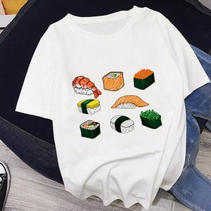 Summer New Japanese Style Sushi Lucky Cat Print Harajuku Leisure Pink Streetwear Tracksuit Personality Vogue Womens T shirt