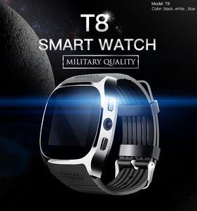 T8 Bluetooth Smart Watch com câmera Phone Mate Cartão Pedômetro Pedômetro à prova d'água para Android iOS SmartWatch Android SmartWatch