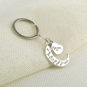 I Love You To the moon and back Letters Metal Keychain Valentine Gifts Christmas New Year Family Charms for Bag Key Holder Pendants E112702