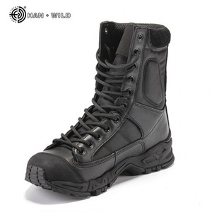 Military Army Boots Men Black Leather Desert Combat Work Shoes Winter Mens Ankle Tactical Boot Man Plus Size 201125