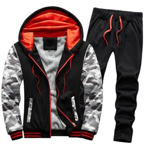 Eşofman Giysileri 2 ADET Hoodies Ve Pantolon Set Adam Kürk Astarlı Sıcak Spor Giyim Koşu Takım Elbise Erkekler Sweatsuit Kış