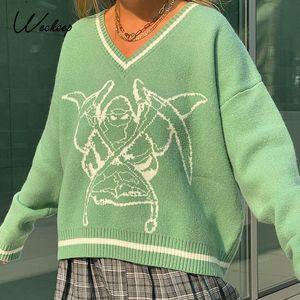 Weekeep Y2K Chic Imprimir Streetwear Sweater Oversized Mulheres Casual Outono Inverno Malha De Jumper Moda Solta Knitwear Pullovers