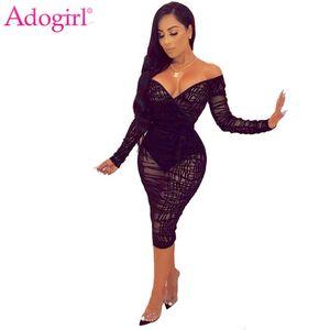Adogirl ruchans Ifer кружева BodyCon платье плюс размер S-4XL женщины сексуальные V шеи с плечо с длинным рукавом мастики MIDI клубное платье