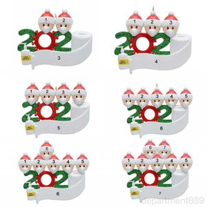 Christmas Decoration New Year Party Gift Xams Ornaments Family Of 7 Ornament with Face Masks Hand Sanitized DHC2165