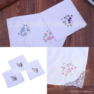 VA6 ALL SPARE COLLECTION BESTICKT FRAUEN SINGLE WINKEL SPITSEPAY Hochzeit Baumwolle Taschentuch Krawatte gefärbt