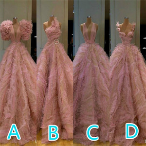 New Arrival Gorgeous Long Sleeve Evening Dresses Pink Puffy Sexy Prom Dress Tulle Formal Evening Gowns robe de soiree Custom Made