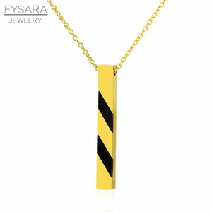 Fysara Fashion Bar Square Pendants Necklace Stainless Steel High Polish Rose Gold Color Short Collar Punk Necklace Jewelry sqcMQe