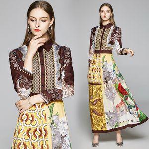 Fashion-Long Sleeve Dress for Women High-end Printed Maxi Dress Prom Evening Dresses Fashion Noble Lady Long Dress Spring Autumn Dresses