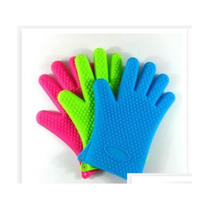 silicone kitchen cooking gloves microwave oven non-slip mitt heat resistant silicone home gloves cooking baking bbq gloves holder bgyjk