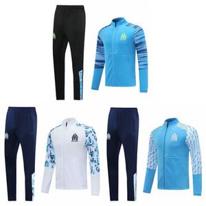 Thai 2020 Olympique Marsella Chaqueta de fútbol Jacksuit 20 21 Marsella Chandal 2021 Jersey de fútbol Trajes de entrenamiento Sports Wear