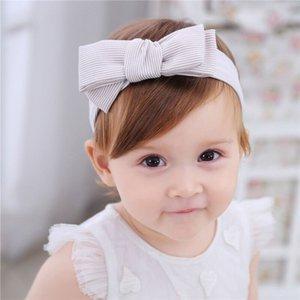 Stirnbänder Neue elastische Baby Säuglingsmädchen Gestreifte Bow Bowknot Haarbänder Kinder Kinder Streifen Kopfschmuck Haarschmuck