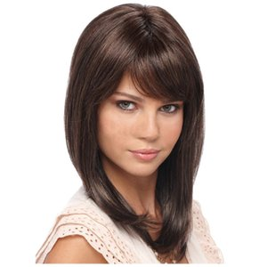2020 new hot selling wig European and wigs human hairs fashion oblique bangs long straight hair brown headgear Special design widely used