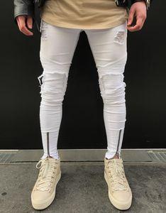 NeverFunction Famous Brand Designer Skinny Ripped Jeans Men Hip Hop Mens White Denim Joggers Rodilleras Lavado Jeans destruidos C1123