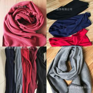 남성 여성 양털 방풍 스카프 가을 Winte 순수한 색상 따뜻한 패션 짙어지는 큰 목도리 다기능 뜨거운 판매 10ch J2