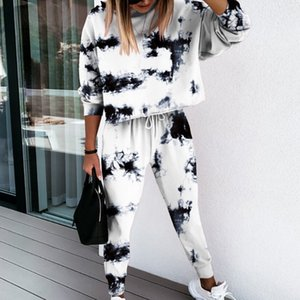 Jogging Suit Women Tracksuit Two Piece Tie-dye Printed lounge wear Set Long Sleeve Hoodie And Trousers Print Casual SweatsuitZ1128