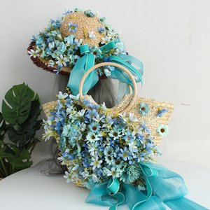 customized High-end artificial coloful flower rattan beach bag women fashion straw wave summer holiday lady tote hat suit blue
