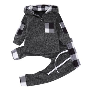 HIPAC 2PCS 2020 Fall Clothes Toddler Boy Cloth Outfits Jogger Set Child Casual Cotton Boys Full Plaid Hooded Regular Active