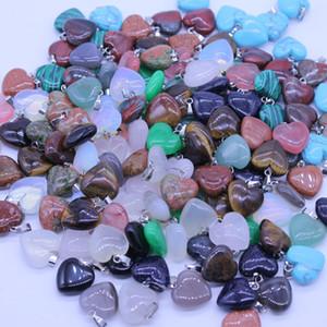 Yüksek Doğal Taş Gemstone Kolye BeautyFancy Kalp Cilalı Gevşek Boncuk Gümüş Kaplama Kanca Fit Bilezik ve Kolye Karışık Lots