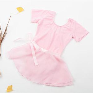 chiffon ballet skirts warp spandex cotton gymnastics leotard for girls short sleeves competition children tutu dance wear dress