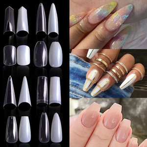 Natural Clear False Acrylic Nail Tips Full Half Cover Tips French Sharp Coffin Ballerina Fake Nails UV Gel Manicure Tools