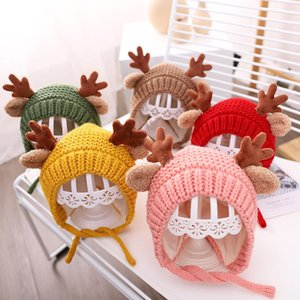 5 Colors Baby Knitted Hat Autumn And Winter Infant Cute Antler Wool Hat Children Cartoon Ear Protection Warm Hat BEA2527