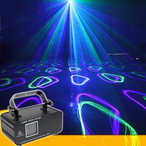 Blue Laser Lighting RGB كامل اللون الرسوم المتحركة مرحلة الإضاءة تأثير الليزر العارض KTV بار عيد الميلاد مهرجان dmx التحكم dj حزب الخفيفة
