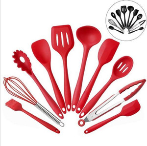 Silicone Kitchenware Rubber Spatula Shovel Powder Fried Egg Whisker Food Clip Oil Brush Scraper Cooking Tools 10pcs Set EWF3495