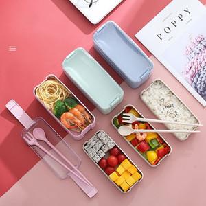 Plastik-Lunchbox-Student-Geschirr Bento-Boxen Anzug-Verschluss 3 Schichten Gitter-Sieb-Up-Dinner-Eimer-Gabel-Löffel-Essstäbchen Multi Color 7 5lm L2