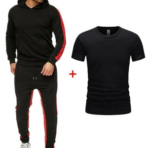 2020 NEW autumn andWINTER men's and women's casual sportswear suit solid color striped sweater suit + T-shirt hand