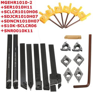 7Pcs 10mm Shank Lathe Turning Tool Boring Bar Holder Kit With DCMT CCMT Carbide Insert Machine Wrench Metal Rod Cutter Set
