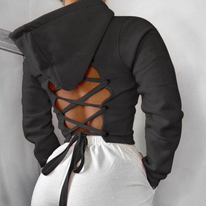 Cotton Sports Yoga Back Hollow Bandage Hooded Women Crop Top Workout Running Jacket Fitness Tracksuits Long Sleeve Sweatshirt