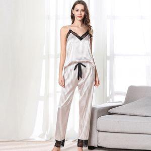 Nice Summer Women Pink Pajamas Silk Sleepwear Lace Homewear Cozy Casual Soft Good Quality Trousers Nightwear Spring Pajama Sets