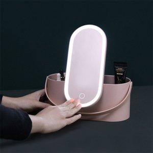Box with LED Portable Travel Cosmetics Organizer Touch Light Mirror Makeup Case Dropship Z1123