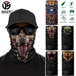 Animal Dinosaur Tube Scarves Tiger Wolf Half Mask Face Cover Running Hiking Hunting Bicycle Summer Neck Gaiter Men Women Bandana