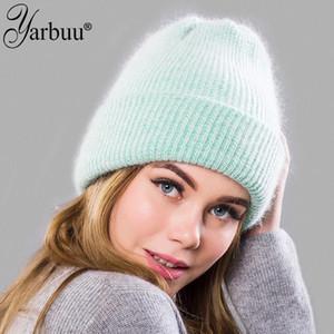 [YARBUU] new fashion simple fur Beanie Hat for Women high quality Winter Skullies Warm wool Cap Gorros Female Cap