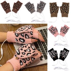 Guantes de leopardo invierno mitones cálidos guantes unisex guantes que estiran la moda de punto con el trabajo usb recargable electrónica termal calor guante