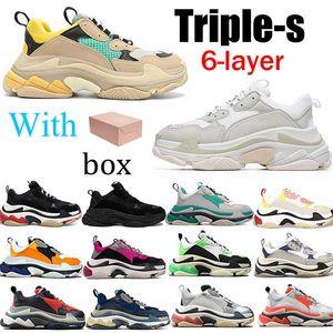 الثلاثي s 6 طبقة الرجال النساء مصمم عارضة أبي الأحذية خمر منصة أحذية رياضية باريس 17FW الكماليات تنس المدربين مسطح الركض المشي