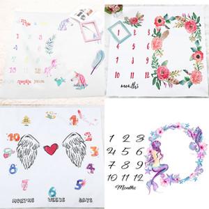 Ins Bambini Coperte di cotone Photo Pop Coperte Infante Swingdling Lettera Flower Flower Digital Baby Lamard Sheet Borsa a pelo 100 * 100 cm 16 stili GWE4097