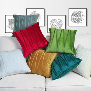 Free Shipping Custom 40*60 30*45 35*50cm 13 Colour Polyester Holand Velvet Striped Embroidery Cushion Cover HT-PHVEC-CL