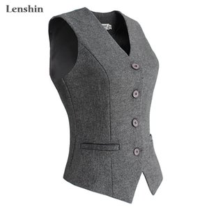 Lenshin Women Elegant OL Waistcoat Vest Gilet V-Neck Business Career Ladies Tops office Formal Work Wear Outerwear A1112
