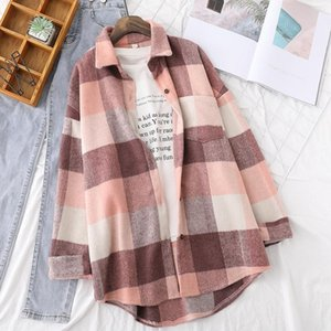 Woolen Plaid Shirts Womens Blouses Winter Thick Long Sleeve Lady Tops Loose Checked Female Clothing Outwear Coat P sqcGoq
